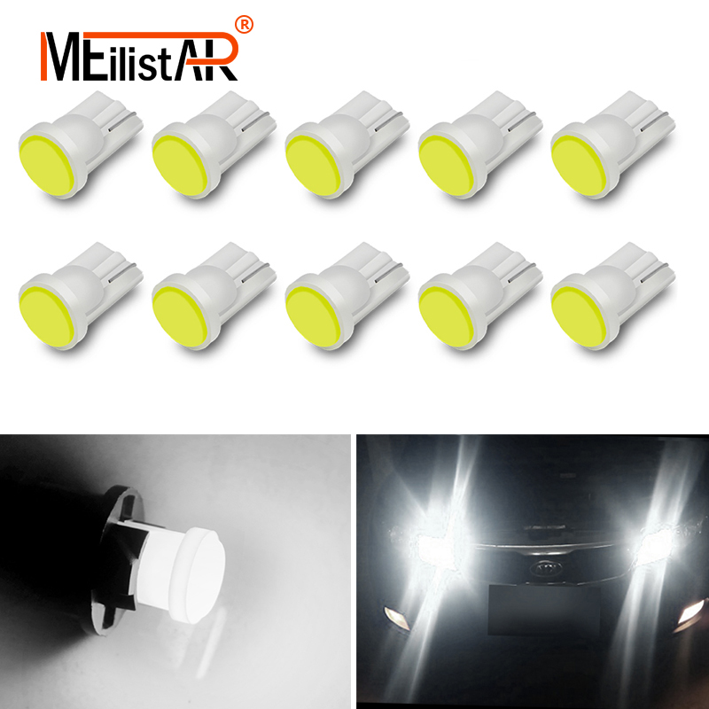10pcs Car led Ceramic Interior LED T10 COB W5W 194 168 Wedge Door Instrument Side Bulb Lamp Car White Source 12V Car styling 10pcs car style interior led t10 cob w5w 168 wedge door instrument side bulb lamp car light white blue green red yellow source