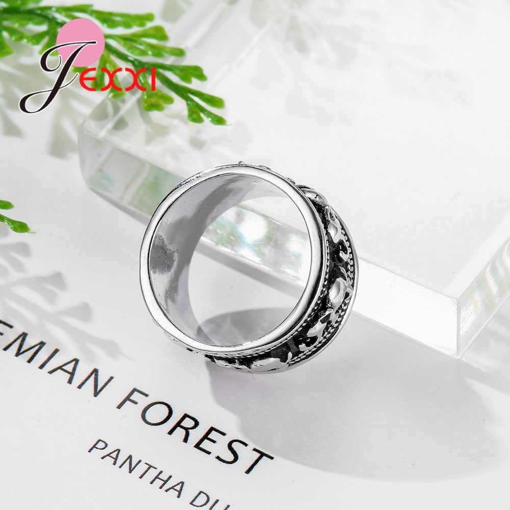 VINTAGE สีดำและสีขาว 925 เงินสเตอร์ลิงเครื่องประดับสไตล์ช้างรูปร่างหมั้นแหวนผู้ชายผู้หญิง Lord งานแต่งงาน