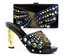 Neue ankunft fashion11cm peep toe talian schuhe mit passenden taschen set TH16-38new mode steine blume Afrikanische schuhe und tasche sets