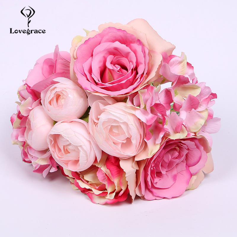 Lovegrace Wedding Bouquet Roses Peony Bridesmaids Bridal Bouquet White Pink Flowers Artificial Home Decoration Marriage Bouquets
