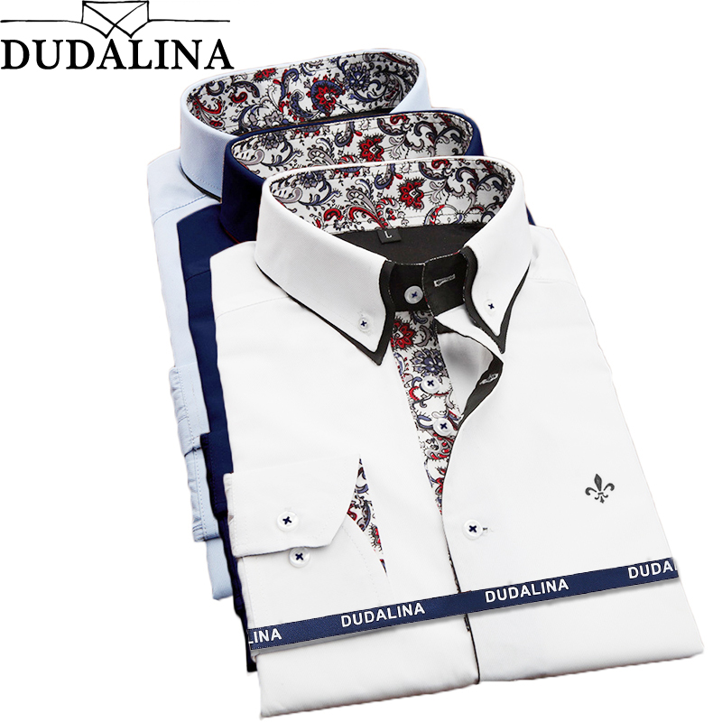 DUDALINA Men Casual Long Sleeved Printed shirt Slim Fit Male Social Business Dress Shirt Brand Men Clothing Soft Comfortable