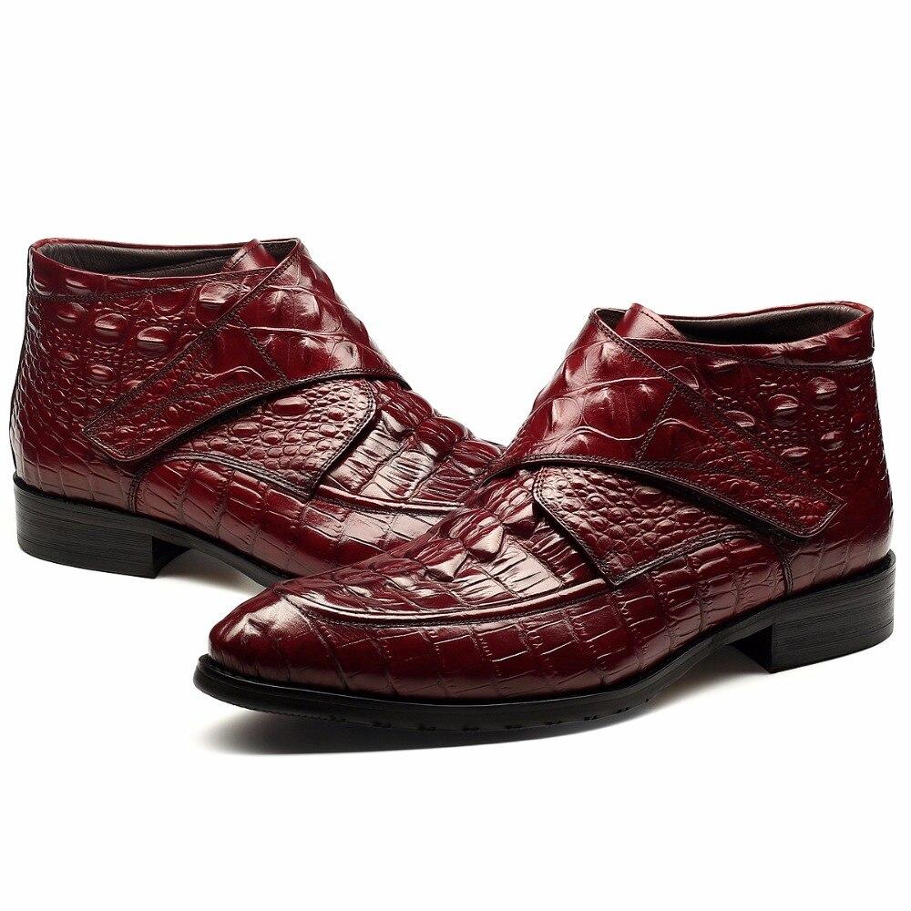 Chaude Hommes Rétro Cuir Sculpté Bottes Et Richelieus Hiver D'affaires Populaire Britannique Crochet Chaussures Martin De Véritable Boucle Noir rouge Automne Robe N0wk8PXZnO