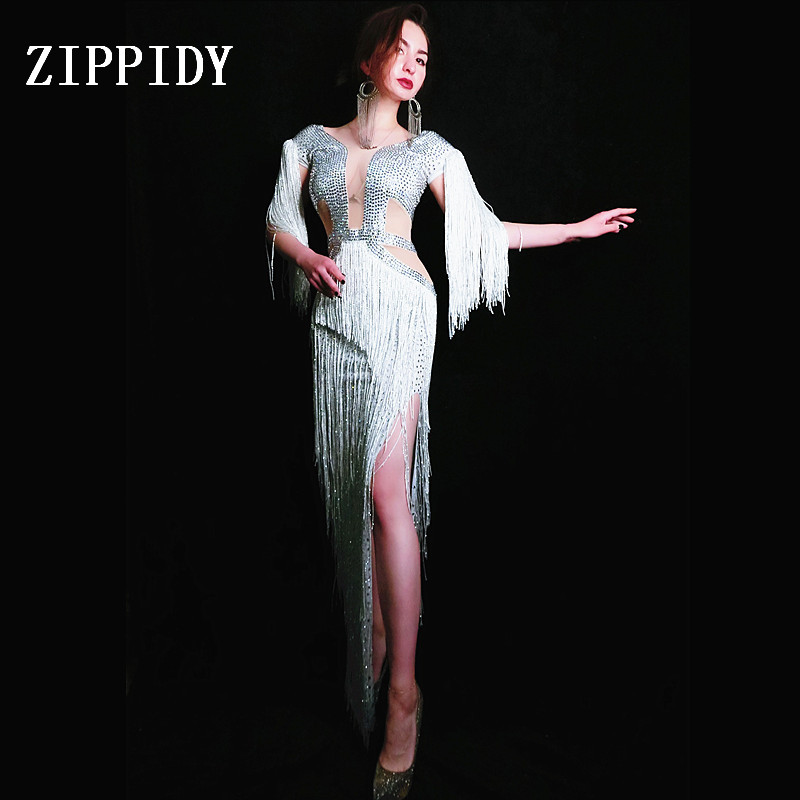 Shining White Fringes Dress Women Sexy Tassel Rhinestones Costume One-Piece Dress Female Birthday Celebrate Long Dress