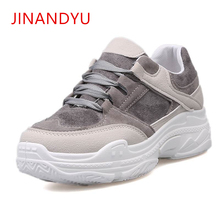 2019 Spring Autumn Shoes Women Platform Ladies Lace Up Casual Shoe Creepers Harajuku Punk Sneakers Girl Female White