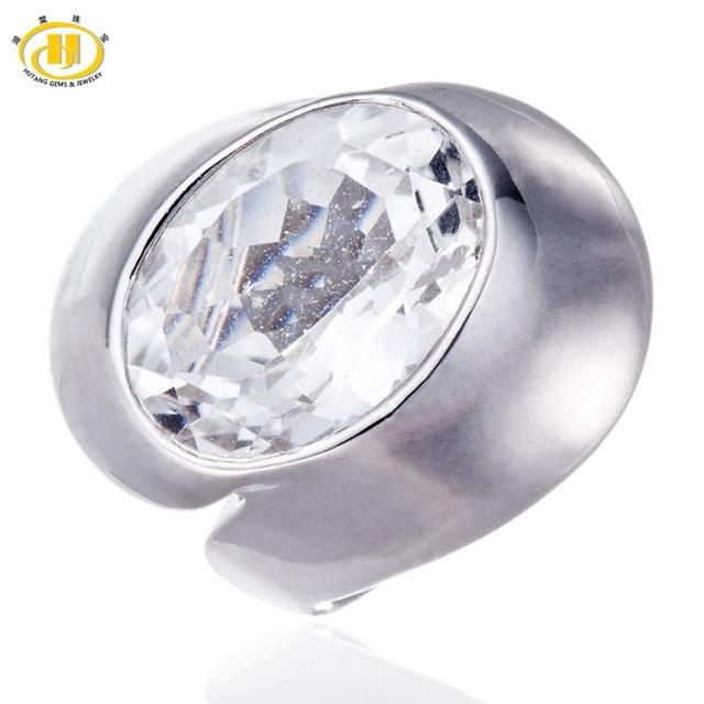 Hutang Topacio Blanco Natural Sólido 925 Anillo de Plata Esterlina para la Mujer Declaración Del Partido Fine Jewelry Oval de Piedras Preciosas
