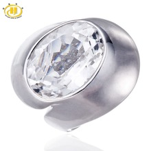 Pure White Topaz Stable 925 Sterling Silver Ring for Girls Occasion Assertion Wonderful Jewellery Oval Gemstone