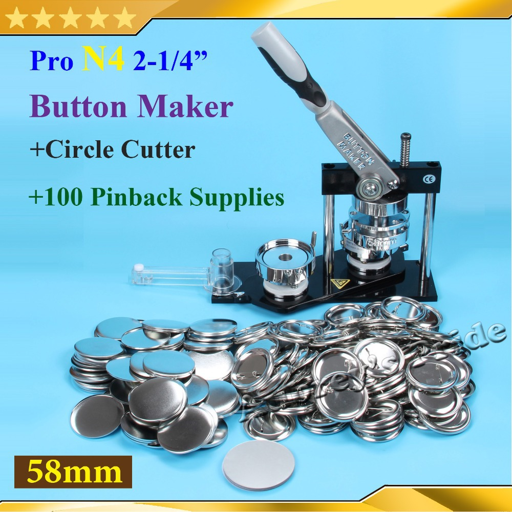NEW Pro N4 2 1 4 58mm Badge Button Maker Machine Adjustable Circle Cutter 100 Set