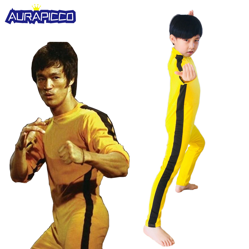 Adult Kids Bruce Lee Cosplay Jeet Kune Do Uniform Unisex Yellow Jumpsuit Chinese Kung Fu Training Suit Game of Death CostumeMovie & TV costumes   -