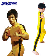 Volwassen Kinderen Bruce Lee Cosplay Jeet Kune Do Uniform Unisex Geel Jumpsuit Chinese Kung Fu Trainingspak Spel van Death kostuum