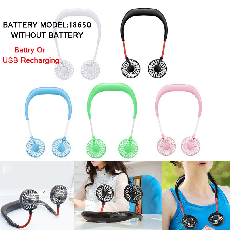 3 Speed Hands-free Fans Silicone Portable Fans Wearable Neckband Fans With Usb Rechargeable Battery Operated Dual Wind Head