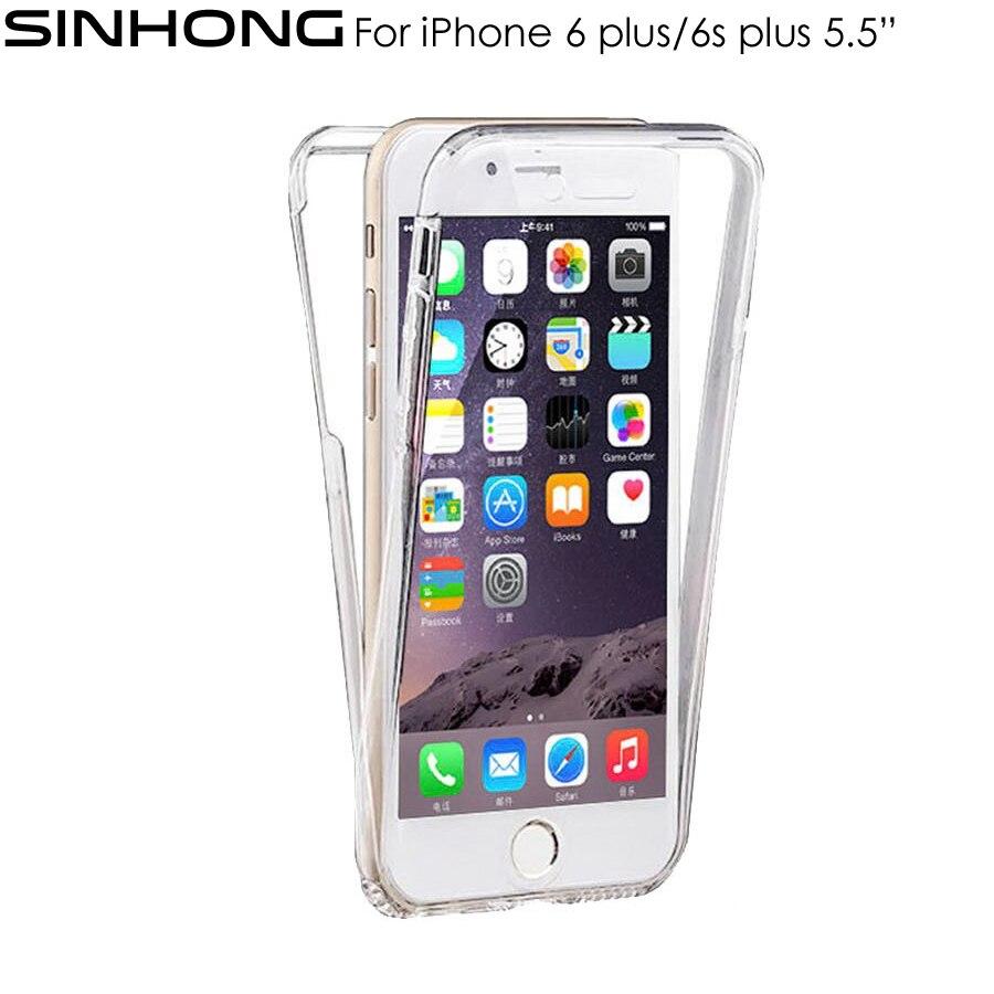 Спереди назад 360 всего тела Защитите прозрачный чехол для iPhone 6 6S плюс 5.5 дюймов крышка ТПУ прозрачные мягкие силиконовые Fundas тонкий Coque