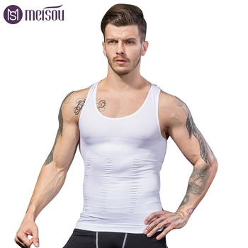цена Meisou Hot Slimming Male Vest Body Shaper Men T shirt Abdomen Fat Reduce Compression Black White Blue Shapewear Fitness Clothing онлайн в 2017 году