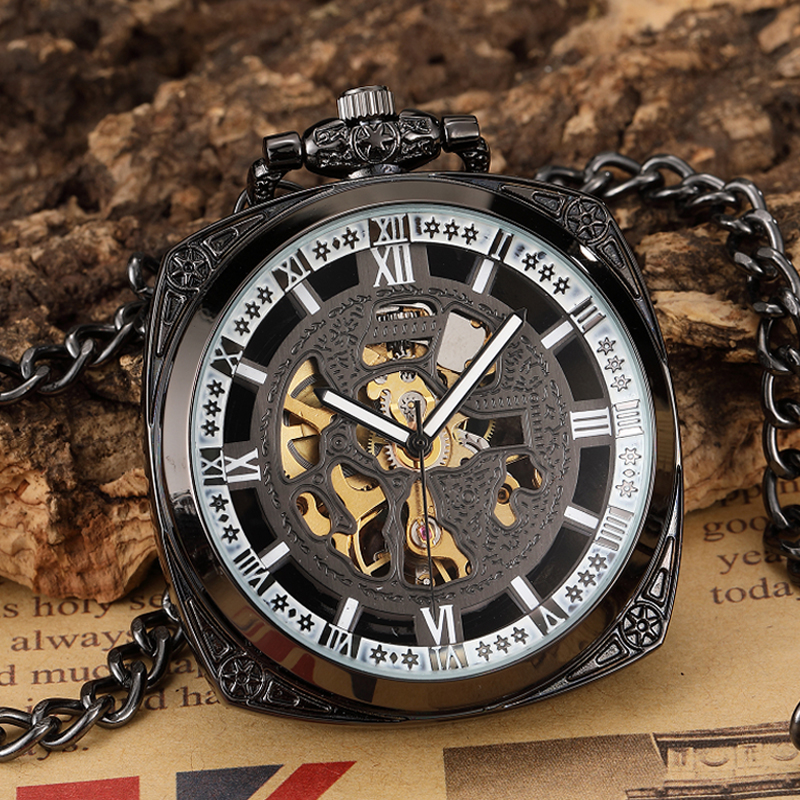 Antique Irregular Square Mechanical Pocket Watch Hand Wind Steampunk Fob Watches Chain Pendants For Collection With Gift Box