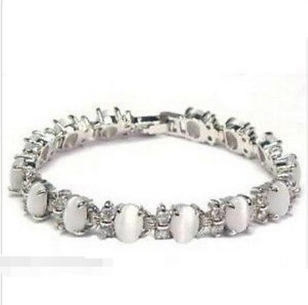 Venta al por mayor precio 16 nuevo ^ ^ ^ ^ joyería de plata brazalete de ópalo blanco 7.5 ''