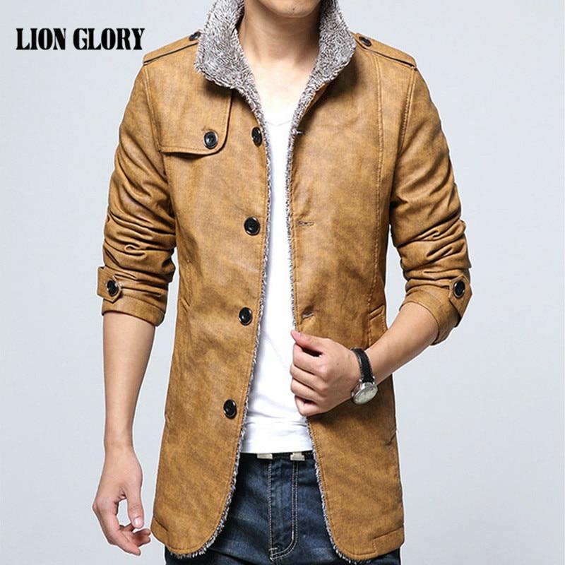 Winter Men Jacket Brand PU Windbreaker Plus Velvet Padded Men Coat Casual Fashion Cappotto Di Lana Uomo Large Size Men's PU Coat