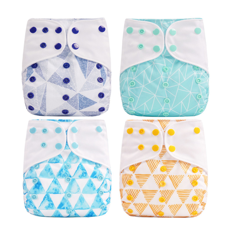 Thank U Mom 4Pcs/set Pocket Cloth Diaper Baby Reusable Nappies Washable Plastic Pants 0-2years 3-15kg Baby