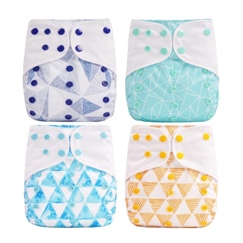 Thank U Mom 4Pcs/set Pocket Cloth Diaper Baby Reusable Nappies Washable Plastic Pants 0-2years 3-15kg Baby