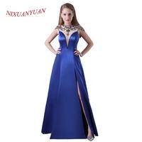 NIXUANYUAN Custom Made Royal Blue Satin Prom Dress 2017 O Neck Illusion Beaded Party Dress Sexy