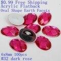 Strass acrílico Forma Oval Terra Facetas $0.99 6x8mm 100 pcs Muitas Cores Cola Flatback Em Contas DIY Acessórios Vestido de Noiva