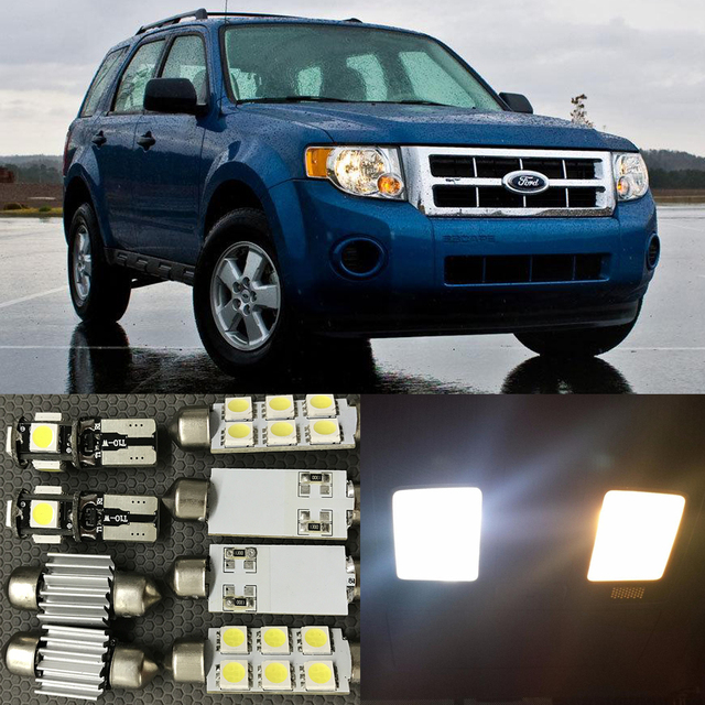 12x White Led Light Bulbs Interior Package Kit For Ford Escape 2010 2017 Map Door License Plate 12v Car Styling