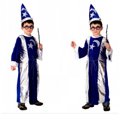 free shipping Halloween costume boy Magic robe cosplay costume color as show  M-XL