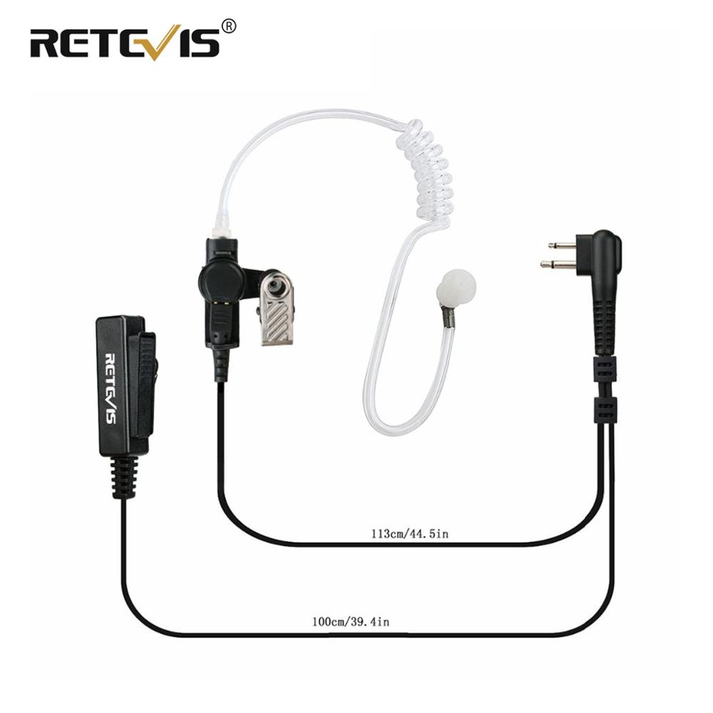 Big Size PTT 2PIN Earpiece Covert Acoustic Tube Headset For Motorola Walkie Talkie EP450 PRO1150 CP100 GP2000 CT150 Ham Radio