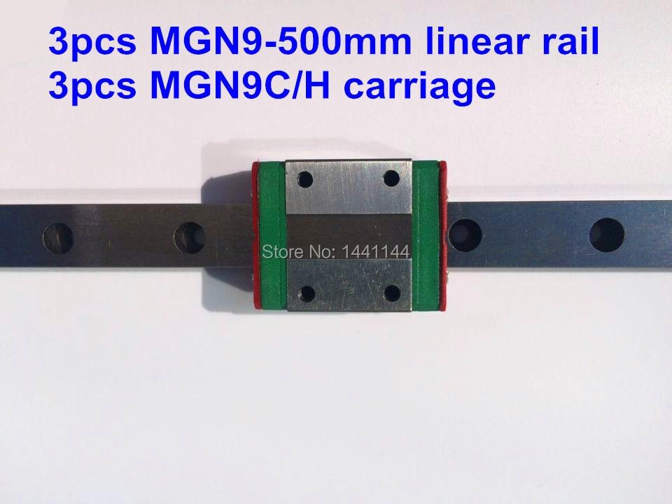 ФОТО Kossel Pro Miniature  9mm linear slide :3pcs MGN9 - 500mm rail+3pcs MGN9C carriage for X Y Z axies 3d printer parts