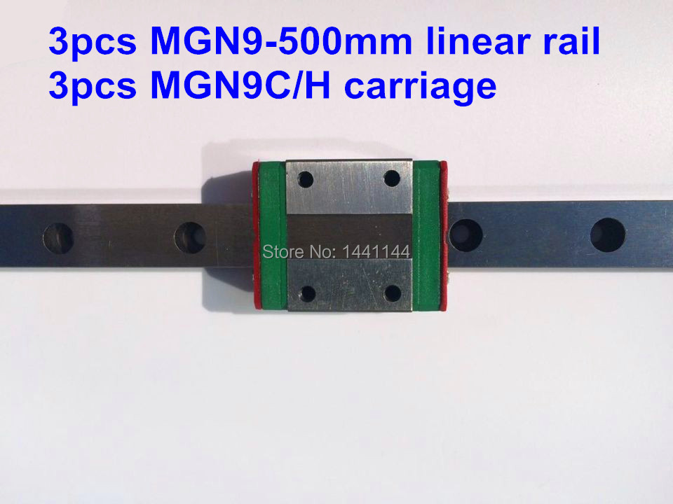 MGN9 Miniature linear rail:3pcs MGN9 - 500mm rail+3pcs MGN9C/MGN9H carriage for X Y Z axies 3d printer parts 1pcs linear rail mgn9 500mm with mini mgn9c