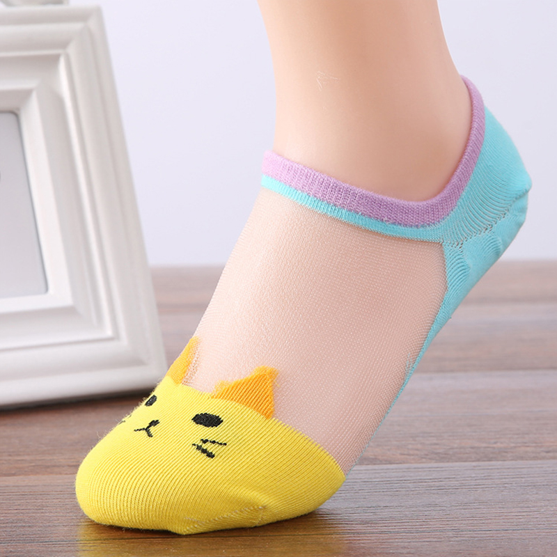 Summer Cute Cat Printed Women Socks Hot Sale Transparent Low Cut Invisible Ankle Girls Socks Clothing Accessories