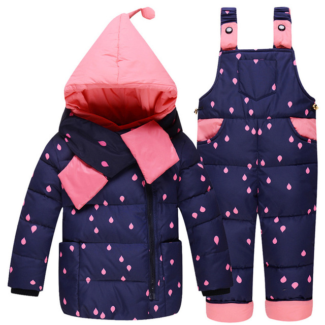 Muchachos de Los Bebés de Invierno Abajo Cubre la Ropa Set 10-24 Meses Los Niños lindo Diy Nieve Desgaste Espesar Down Jacket + pants 2 Unids Traje