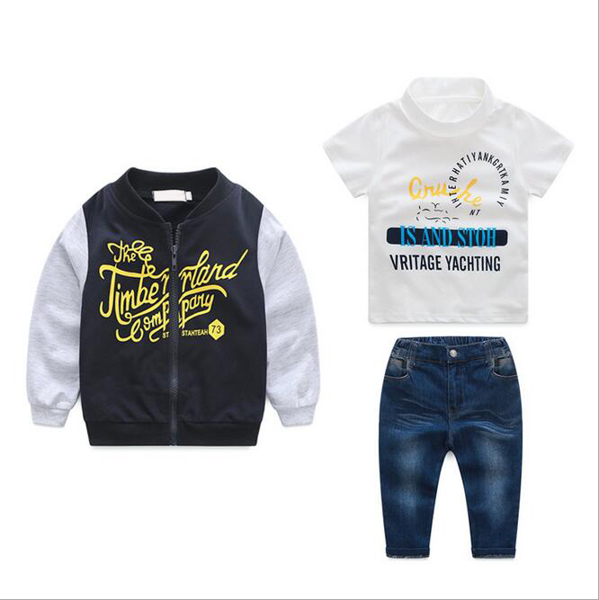 British Boy Long - sleeved Coat Cotton T-shirt Jeans Suit Autumn Vetement Gancon New Children Clothing Set With Casual Pants new arrival spring fall girl t shirt cotton long sleeved casual children t shirt girl long sleeve t shirt 6 11y