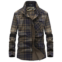 Men S Casual Cotton Shirts Long Sleeve Fashion Plaid Brand AFS JEEP High Quality Sport Fitness