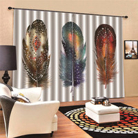Curtains Feather European and American style Window Door Drape Panel Sheer For Living Room 3D Digital Print MA11