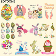 Owl-Patches Iron-On transfers Stickers Badge Happy-Easter-Patch Kids Clothes Vinyl Rabbit