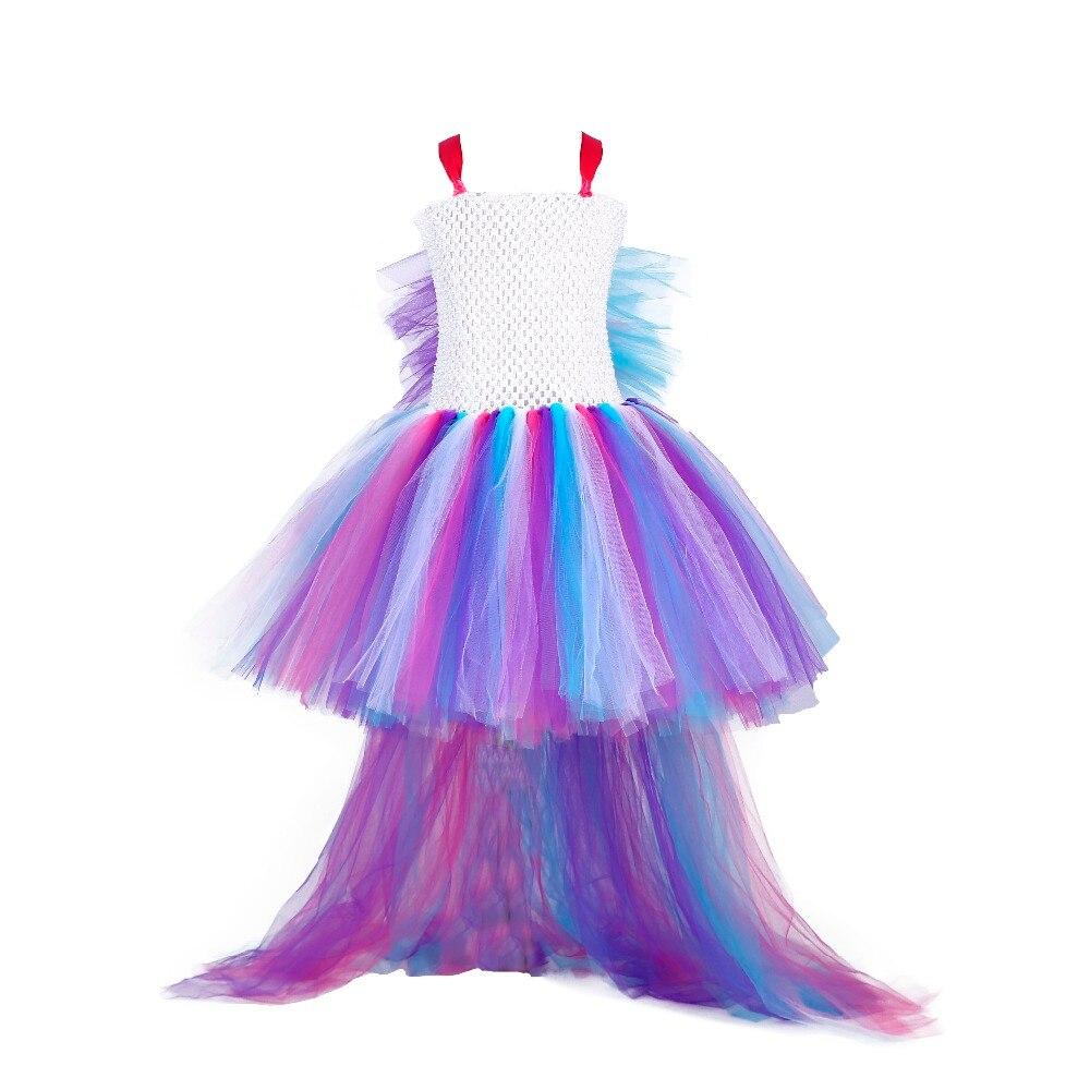 Nueva llegada colorido encantador unicornio Cosplay cinta tutú rodilla niño pequeño caballo Cos vestidos para fiesta de noche