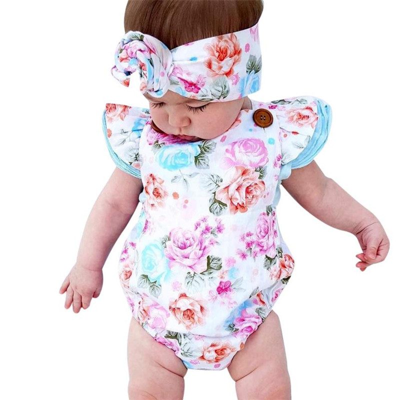 2017 New Newborn Infant Baby Girls Floral Romper Sunsuit Headband Outfits Clothes Set sport suit baby girl summer clothes