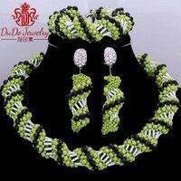 Dudo 보석 세트 블랙 애플 녹색 크리스탈 초커 나이