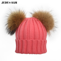 New Winter Skullies Beanies With 2 Natural Color Raccoon Fur Ball Pompon Hat For Women