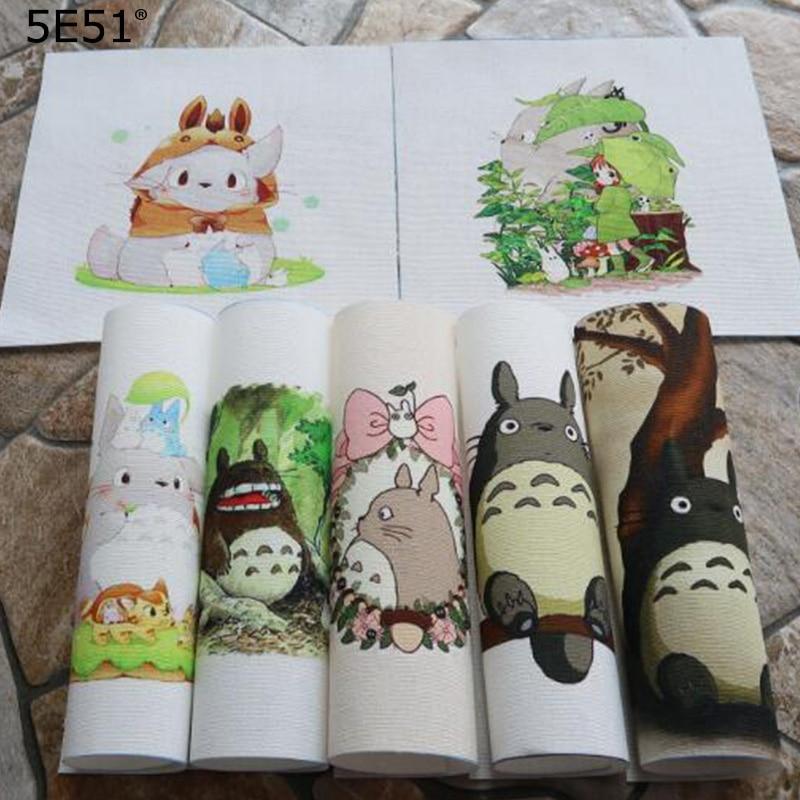 Cartoon totoro Handmade cloth DIY cotton canvas fabric / hand dyed patchwork cloth digital printing 15*15(China)
