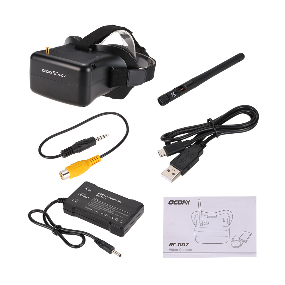 OCDAY RC-007 5.8G 40CH 4.3inch FPV Goggles Video Glasses for QAV250 Racer 250 GoolRC 210 QX90 RC FPV Racing Quadcopter 7a grade unprocessed virgin human peruvian hair extensions deep wave natual color 3 pieces lot 8 28inch