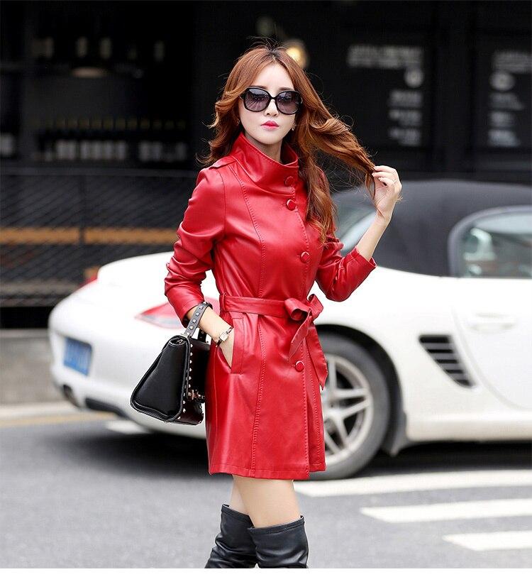 Cuir Long De Paragraphe En Manteau red Casual Veste Black Conception Nouvelles Mode Femmes Costume Coréenne Mince purple 18wnq0S