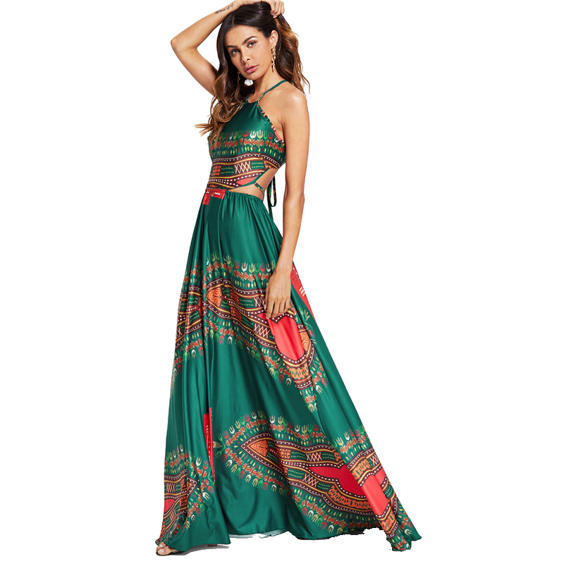 COLROVIE Green Elegant Backless Geometric Ornate Print Cut Out Halter Summer Women Maxi Dress 2018 Sexy High Waist Beach Dress 9