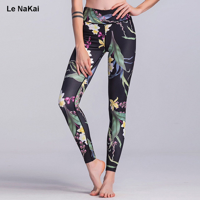 fe3369dea6ff22 Women Floral Printed Yoga Pants Fitness High Waist Elastic Yoga Leggings  Workout Gym Tights Contrast Color Jogger Trousers