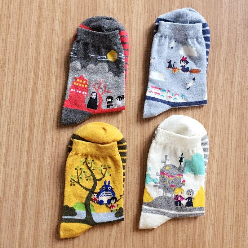 4 Pairs 2018 new Cute Women Japanese Hayao Miyazaki chinchilla   socks   Cartoon Animal Panda Print Ankle-High   Socks