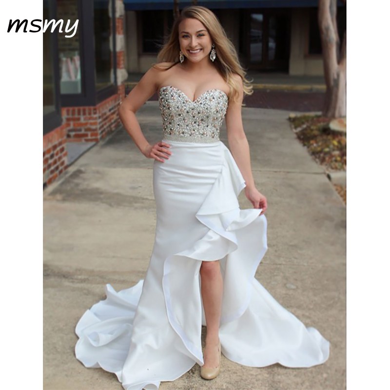 Sexy   Evening     Dresses   Mermaid Floor Length Sweetheart Sleeveless Ruffles Sweep Train   Evening   Gowns Custom Made Vestido de noche