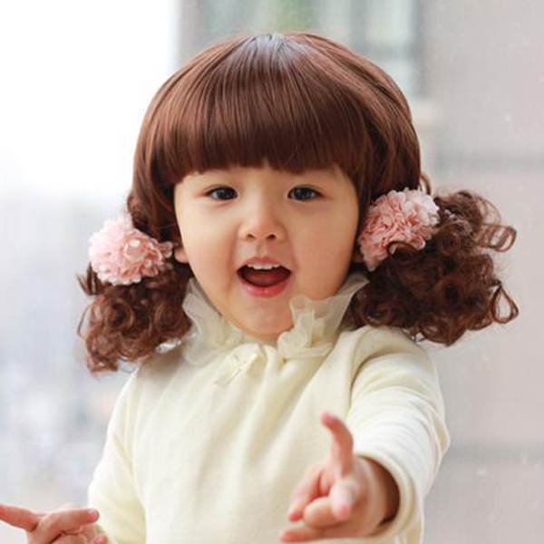 Baby Cute Girls Kids Short Curly Hair Wigs Lovely Princess Baby Synthetic Dark Brown Wig on