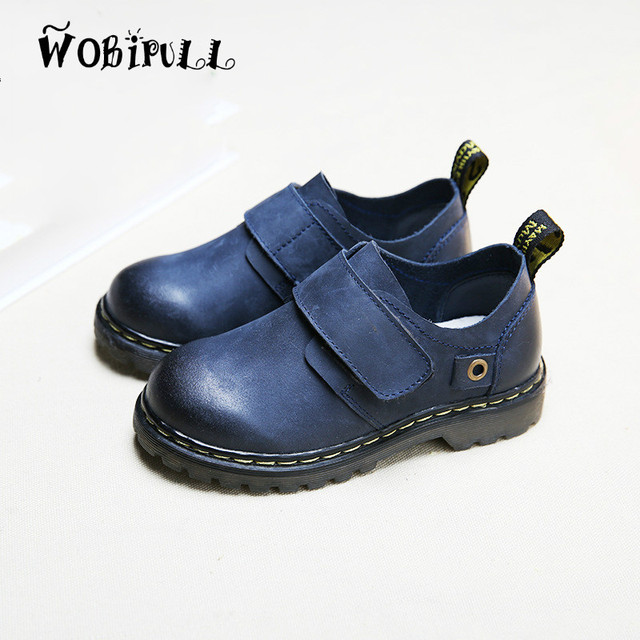 WOBIPULL 2017 spring new high quality kids Genuine Leather shoes children's shoes boy anti-skid casual shoes British style 21-37