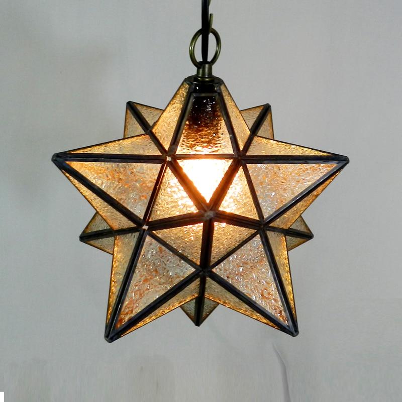 ФОТО Modern brief glass pendant light fixture Tiffany home deco star pendant lamp E27 bulb