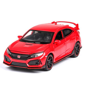 Image 4 - 1:32 HONDA CIVIC TYPE R Diecasts & Toy Vehicles Metal Car Model Sound Light Collection Car Toys For Children Christmas Gift