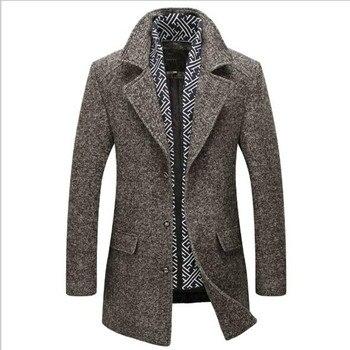 New Outono Trench Coats de Lã dos homens de Inverno 2018 Da Marca Dos Homens Engrossar Blusão Quente Cachecol Destacável Jaqueta Casaco de Homem